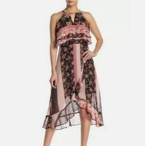 Kensie Floral Stripe Halter High/Low Midi Dress 12